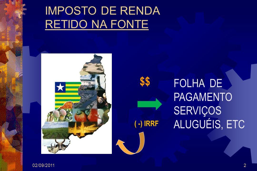 2 IMPOSTO DE RENDA RETIDO NA FONTE FOLHA DE PAGAMENTO SERVIÇOS ALUGUÉIS, ETC ( -) IRRF $$