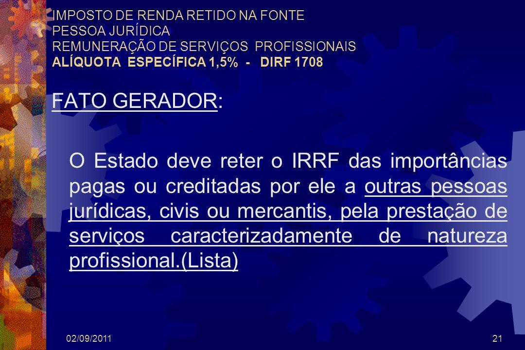 02/09/201121 IMPOSTO DE RENDA RETIDO NA FONTE PESSOA JURÍDICA REMUNERAÇÃO DE SERVIÇOS PROFISSIONAIS ALÍQUOTA ESPECÍFICA 1,5% - DIRF 1708 FATO GERADOR: