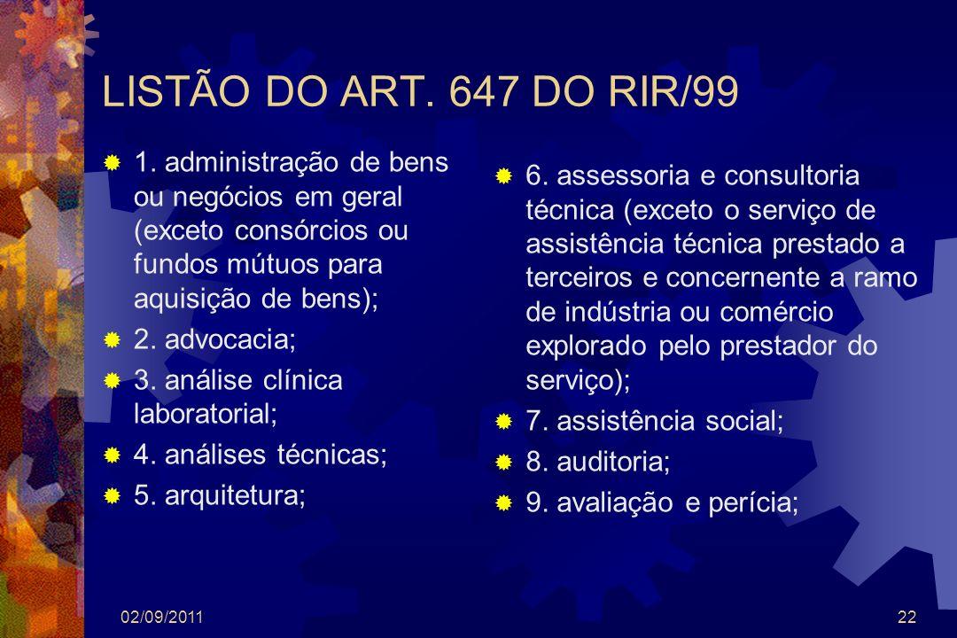 LISTÃO DO ART. 647 DO RIR/99 1. administração de bens ou negócios em geral (exceto consórcios ou fundos mútuos para aquisição de bens); 2. advocacia;
