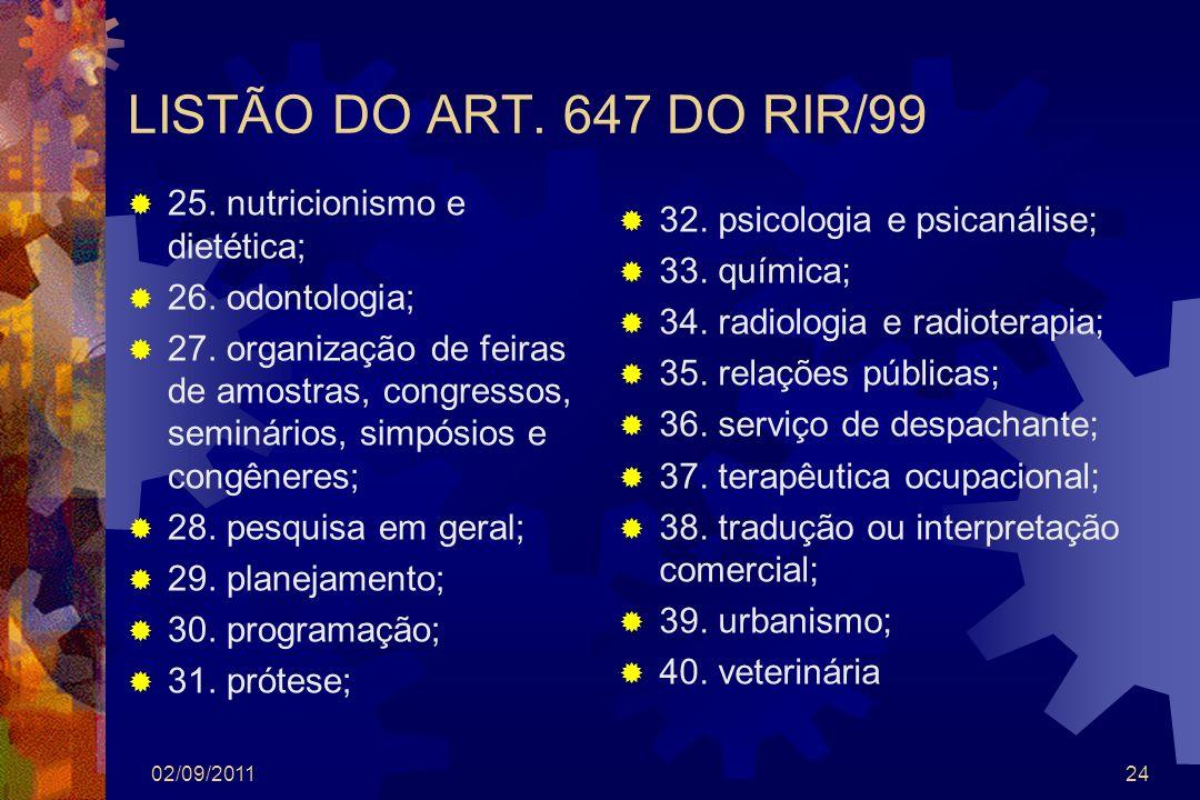 LISTÃO DO ART. 647 DO RIR/99 25. nutricionismo e dietética; 26. odontologia; 27. organização de feiras de amostras, congressos, seminários, simpósios