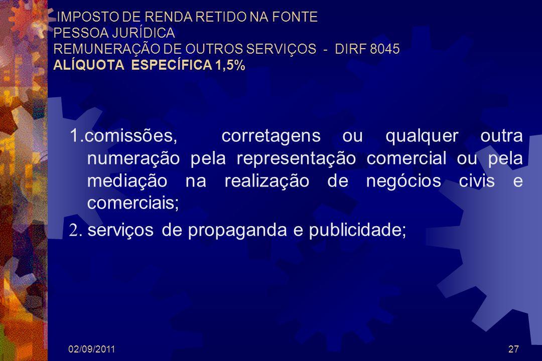 02/09/201127 IMPOSTO DE RENDA RETIDO NA FONTE PESSOA JURÍDICA REMUNERAÇÃO DE OUTROS SERVIÇOS - DIRF 8045 ALÍQUOTA ESPECÍFICA 1,5% 1.comissões, correta