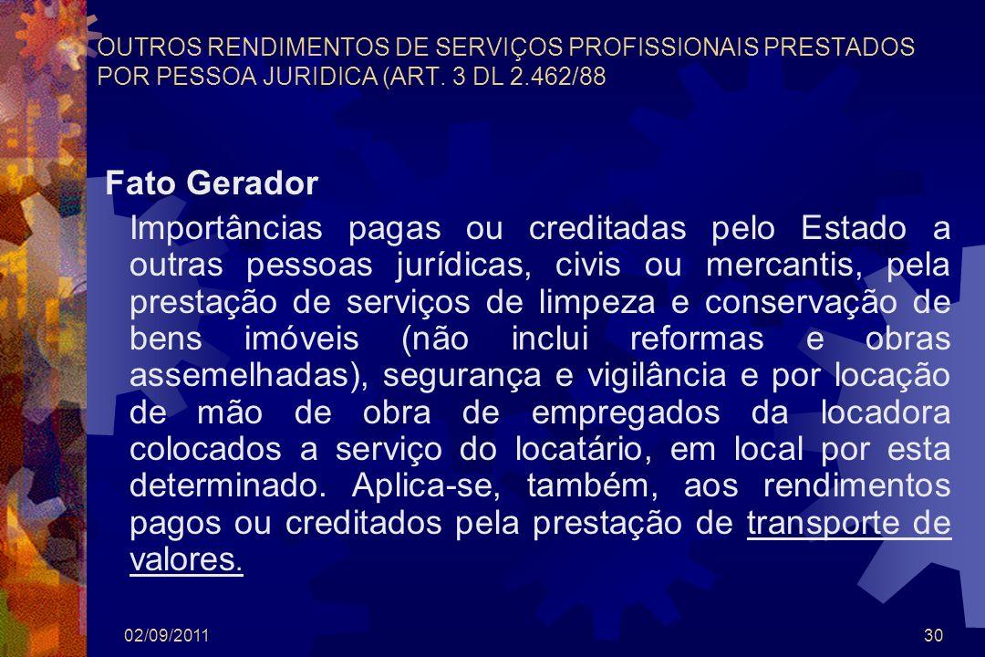 02/09/201130 OUTROS RENDIMENTOS DE SERVIÇOS PROFISSIONAIS PRESTADOS POR PESSOA JURIDICA (ART. 3 DL 2.462/88 Fato Gerador Importâncias pagas ou credita