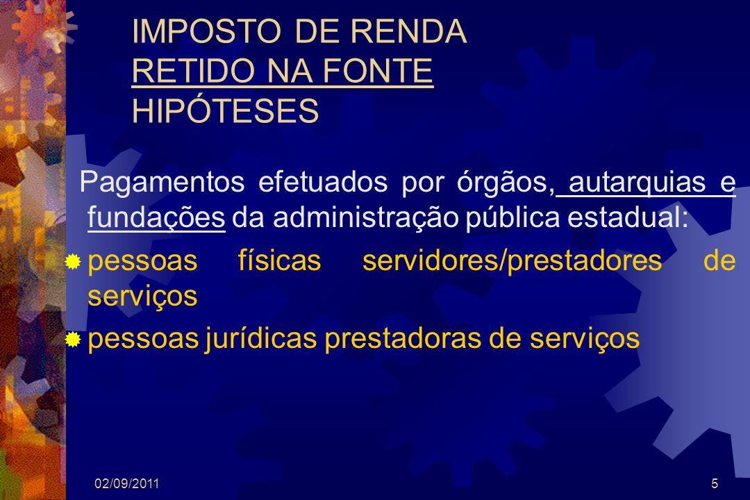 02/09/20115 IMPOSTO DE RENDA RETIDO NA FONTE HIPÓTESES Pagamentos efetuados por órgãos, autarquias e fundações da administração pública estadual: pess