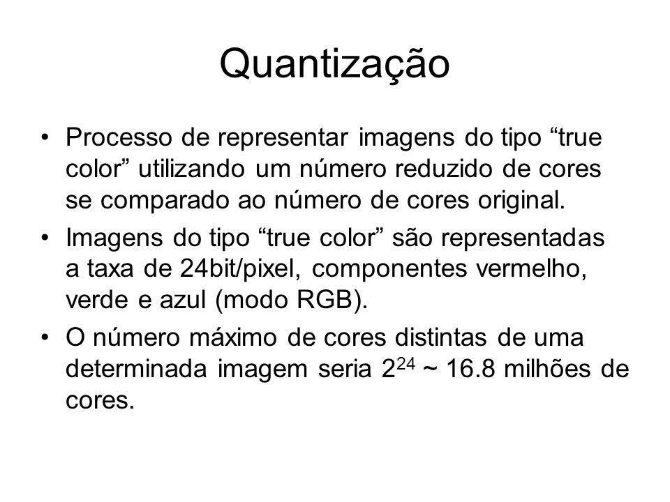 Quantização Processo de representar imagens do tipo true color utilizando um número reduzido de cores se comparado ao número de cores original. Imagen