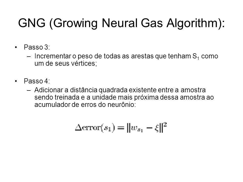 GNG (Growing Neural Gas Algorithm): Passo 3: –Incrementar o peso de todas as arestas que tenham S 1 como um de seus vértices; Passo 4: –Adicionar a di