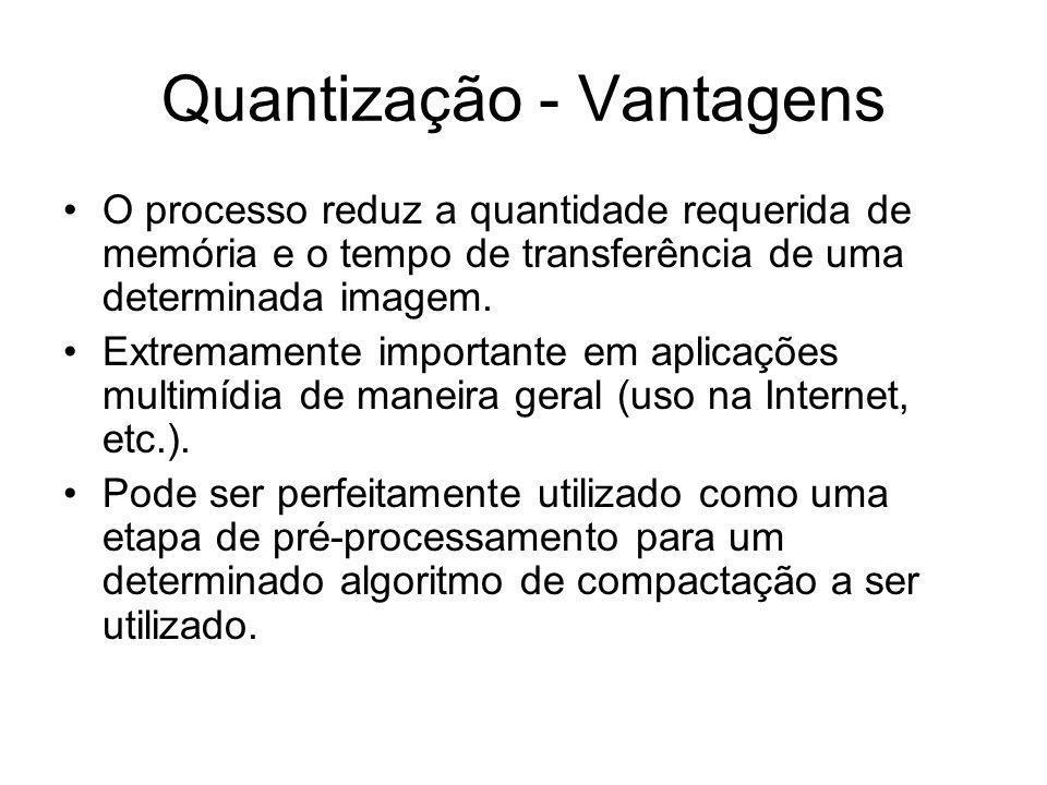 Quantização - Vantagens O processo reduz a quantidade requerida de memória e o tempo de transferência de uma determinada imagem. Extremamente importan
