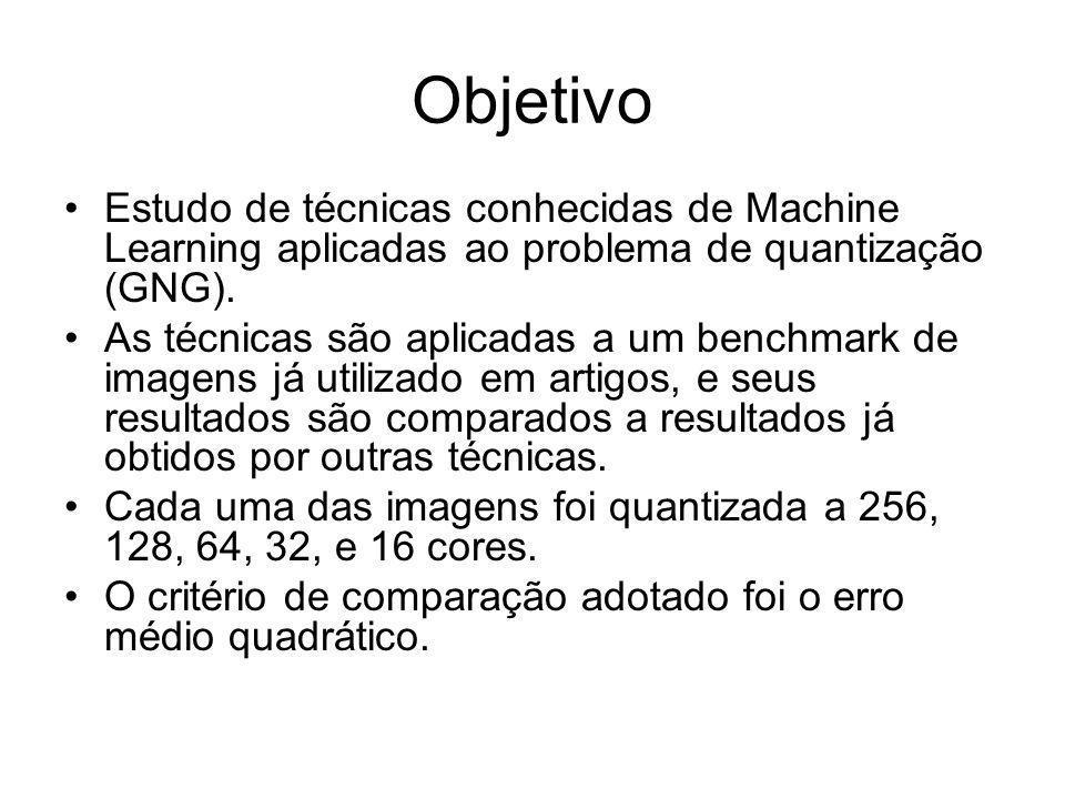Objetivo Estudo de técnicas conhecidas de Machine Learning aplicadas ao problema de quantização (GNG). As técnicas são aplicadas a um benchmark de ima