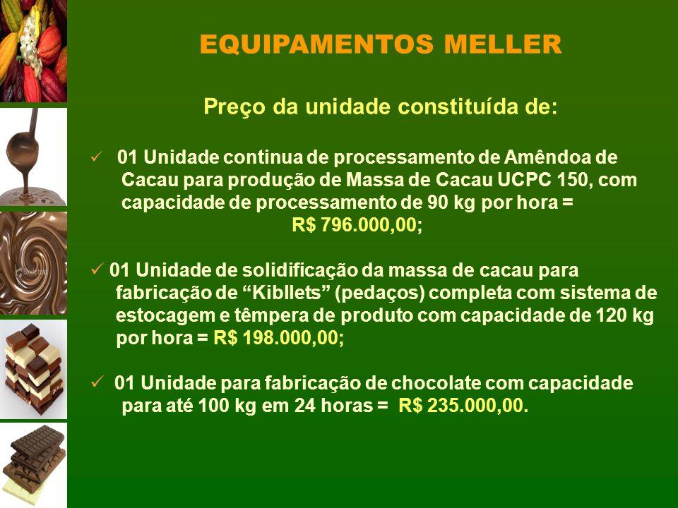 Preço da unidade constituída de: 01 Unidade continua de processamento de Amêndoa de Cacau para produção de Massa de Cacau UCPC 150, com capacidade de