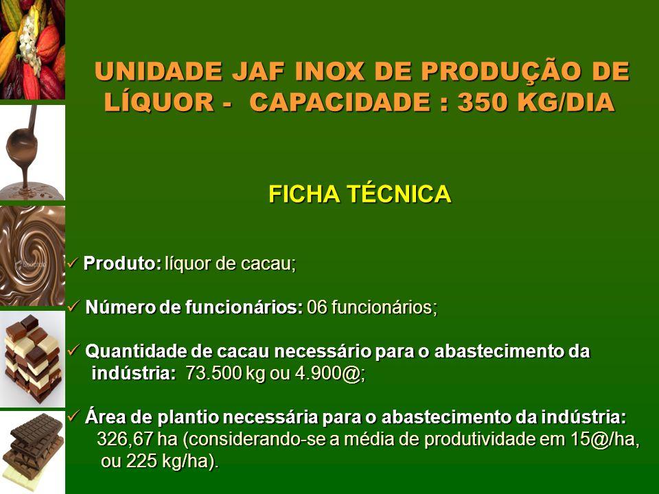 UNIDADE JAF INOX DE PRODUÇÃO DE LÍQUOR - CAPACIDADE : 350 KG/DIA UNIDADE JAF INOX DE PRODUÇÃO DE LÍQUOR - CAPACIDADE : 350 KG/DIA FICHA TÉCNICA Produt