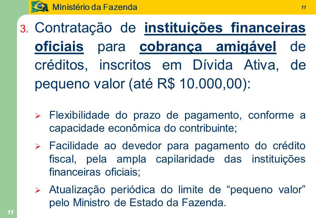 Ministério da Fazenda 11 3. Contratação de instituições financeiras oficiais para cobrança amigável de créditos, inscritos em Dívida Ativa, de pequeno