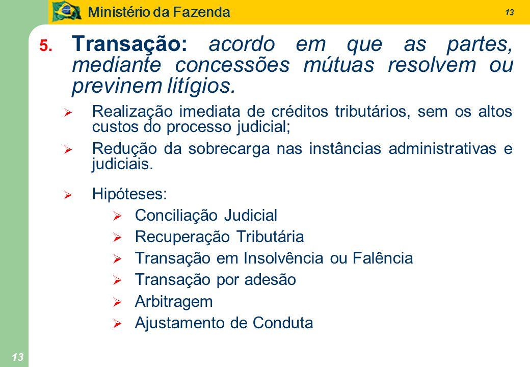 Ministério da Fazenda 13 5. Transação: acordo em que as partes, mediante concessões mútuas resolvem ou previnem litígios. Realização imediata de crédi