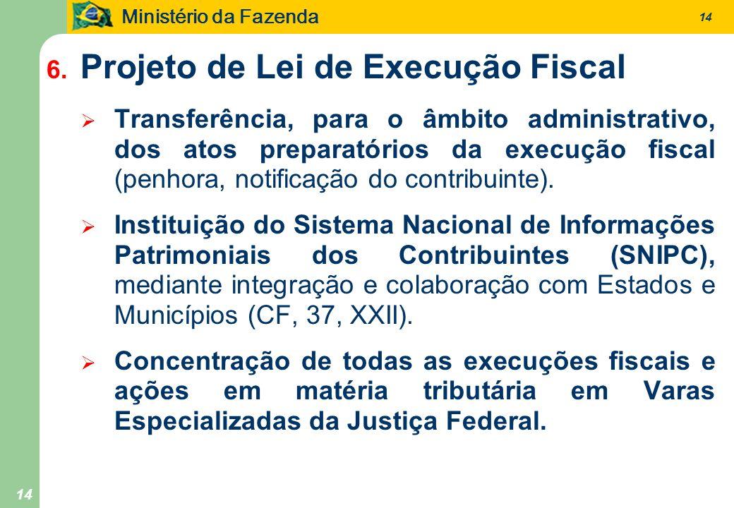 Ministério da Fazenda 14 6. Projeto de Lei de Execução Fiscal Transferência, para o âmbito administrativo, dos atos preparatórios da execução fiscal (