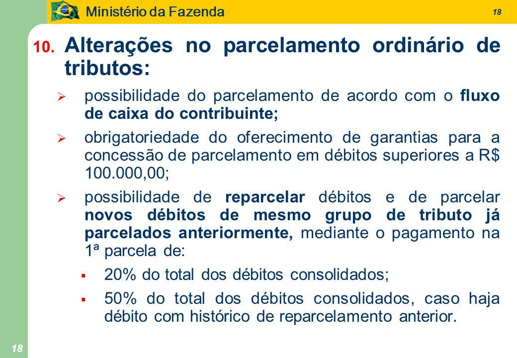 Ministério da Fazenda 18 10. Alterações no parcelamento ordinário de tributos: possibilidade do parcelamento de acordo com o fluxo de caixa do contrib