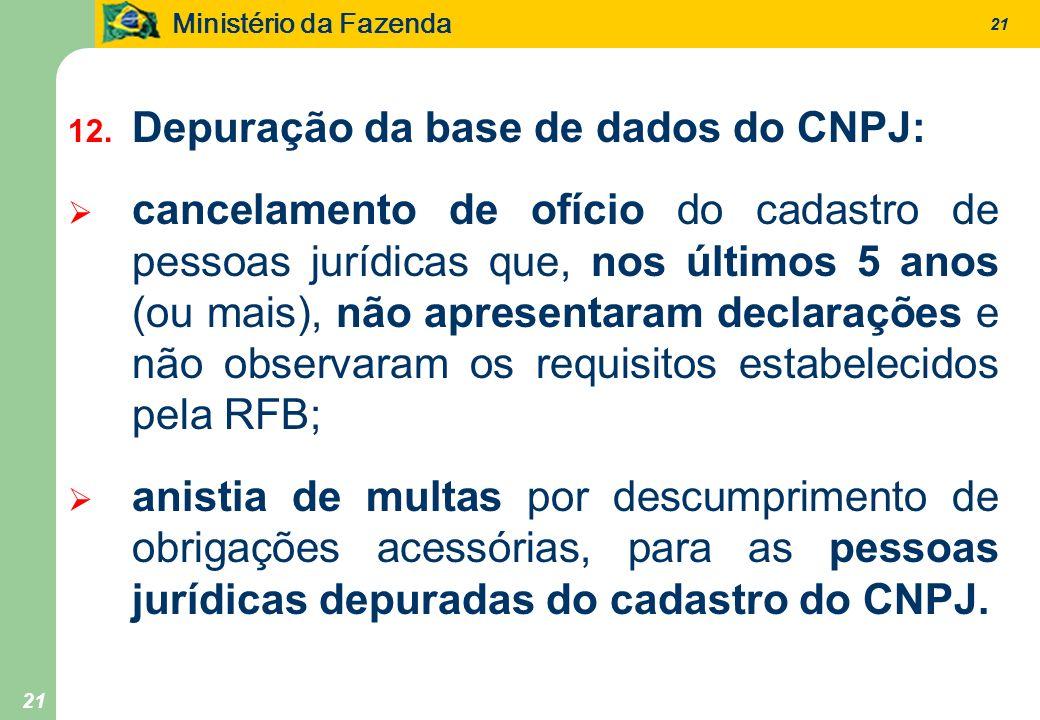 Ministério da Fazenda 21 12. Depuração da base de dados do CNPJ: cancelamento de ofício do cadastro de pessoas jurídicas que, nos últimos 5 anos (ou m