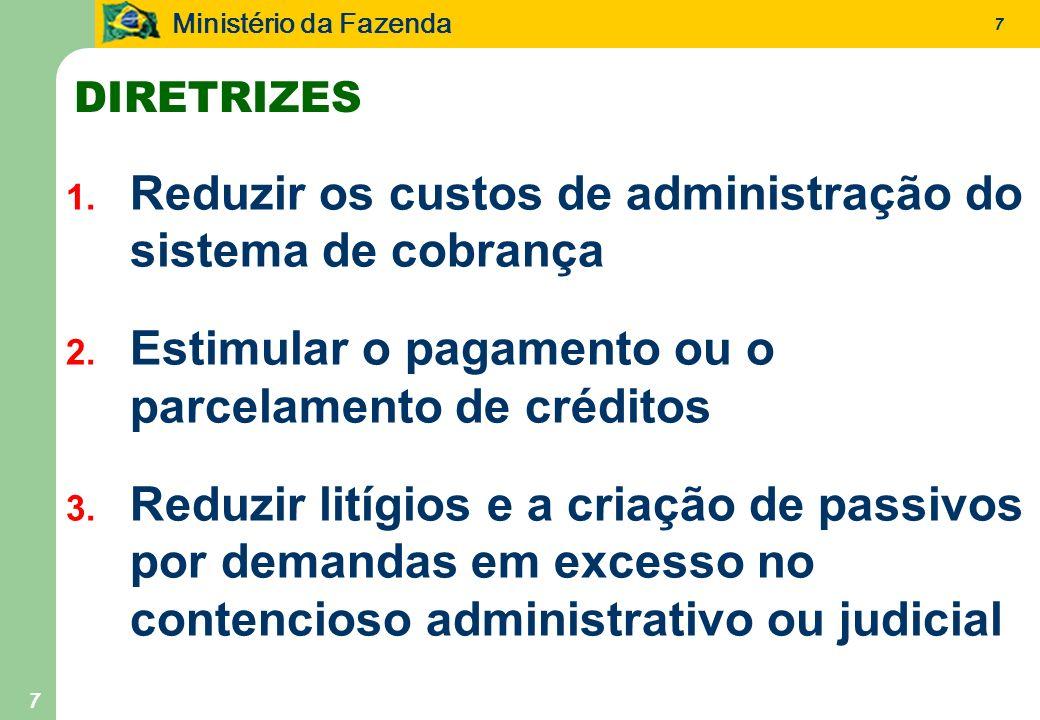 Ministério da Fazenda 7 7 1. Reduzir os custos de administração do sistema de cobrança 2. Estimular o pagamento ou o parcelamento de créditos 3. Reduz