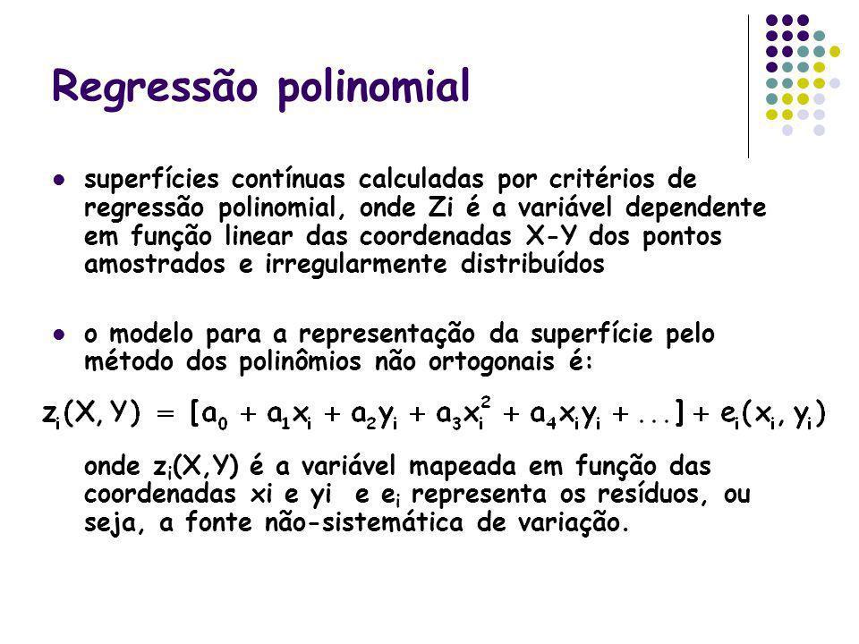 Regressão polinomial superfícies contínuas calculadas por critérios de regressão polinomial, onde Zi é a variável dependente em função linear das coor