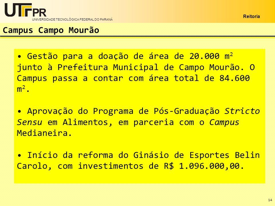UNIVERSIDADE TECNOLÓGICA FEDERAL DO PARANÁ Reitoria Gestão para a doação de área de 20.000 m 2 junto à Prefeitura Municipal de Campo Mourão. O Campus
