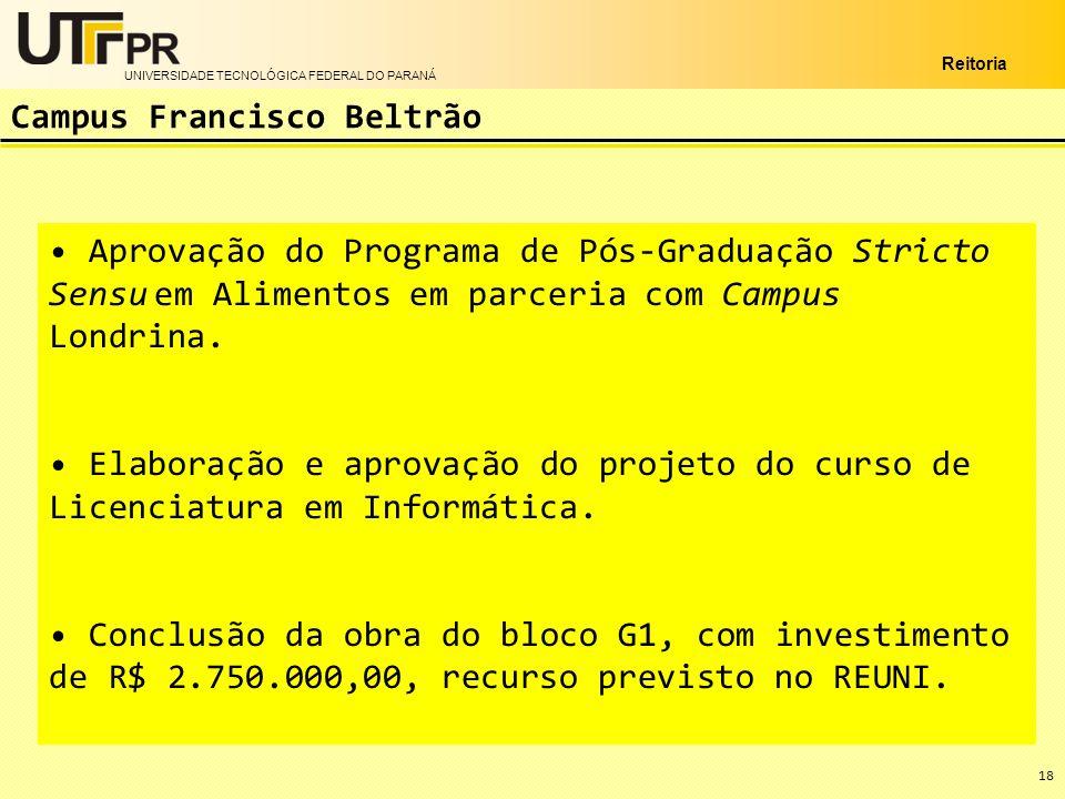 UNIVERSIDADE TECNOLÓGICA FEDERAL DO PARANÁ Reitoria Aprovação do Programa de Pós-Graduação Stricto Sensu em Alimentos em parceria com Campus Londrina.