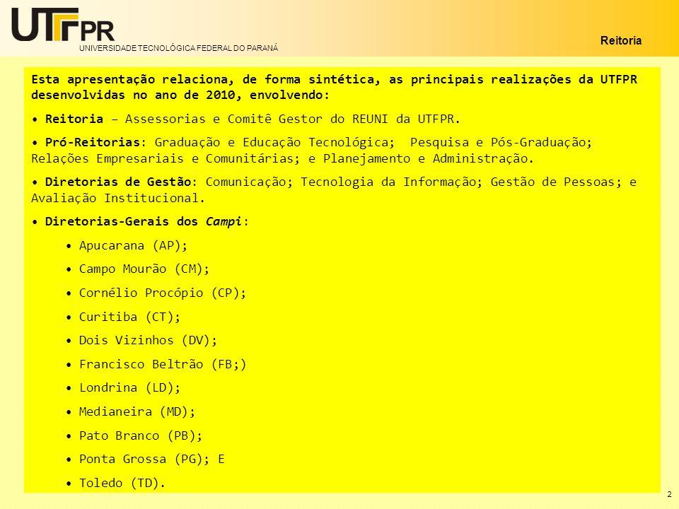 UNIVERSIDADE TECNOLÓGICA FEDERAL DO PARANÁ Reitoria 2 Esta apresentação relaciona, de forma sintética, as principais realizações da UTFPR desenvolvida