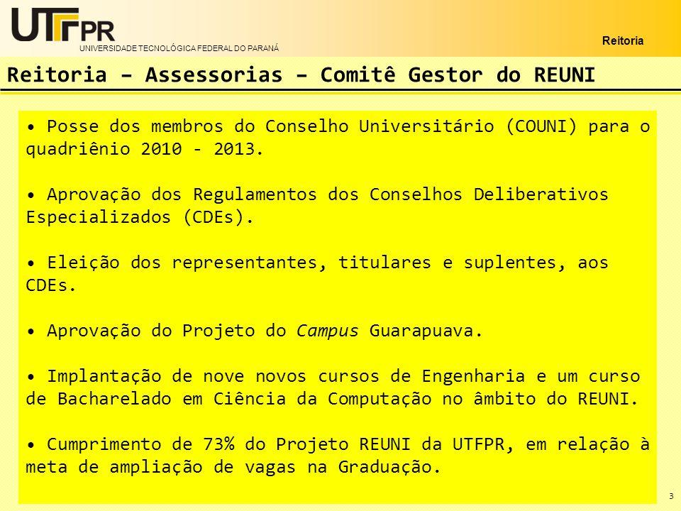 UNIVERSIDADE TECNOLÓGICA FEDERAL DO PARANÁ Reitoria 3 Reitoria – Assessorias – Comitê Gestor do REUNI Posse dos membros do Conselho Universitário (COU