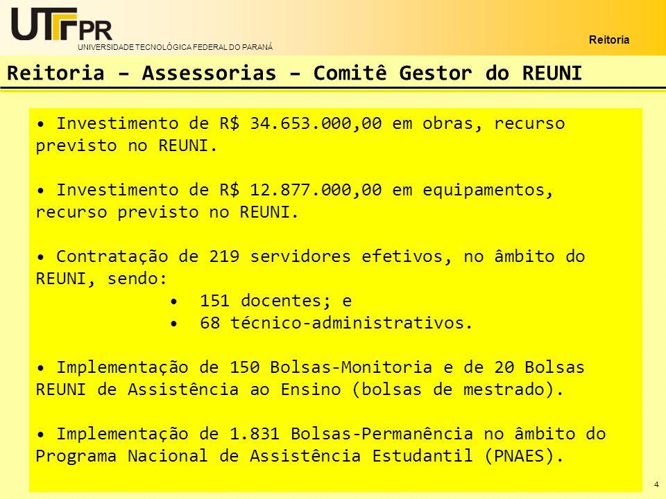 UNIVERSIDADE TECNOLÓGICA FEDERAL DO PARANÁ Reitoria 4 Investimento de R$ 34.653.000,00 em obras, recurso previsto no REUNI. Investimento de R$ 12.877.