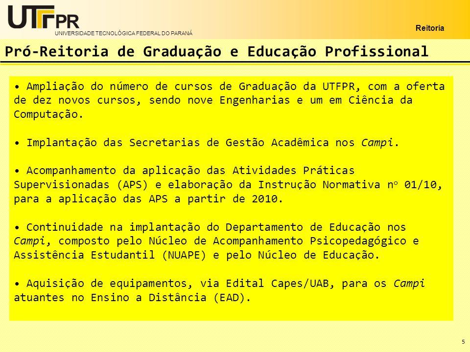 UNIVERSIDADE TECNOLÓGICA FEDERAL DO PARANÁ Reitoria 5 Ampliação do número de cursos de Graduação da UTFPR, com a oferta de dez novos cursos, sendo nov