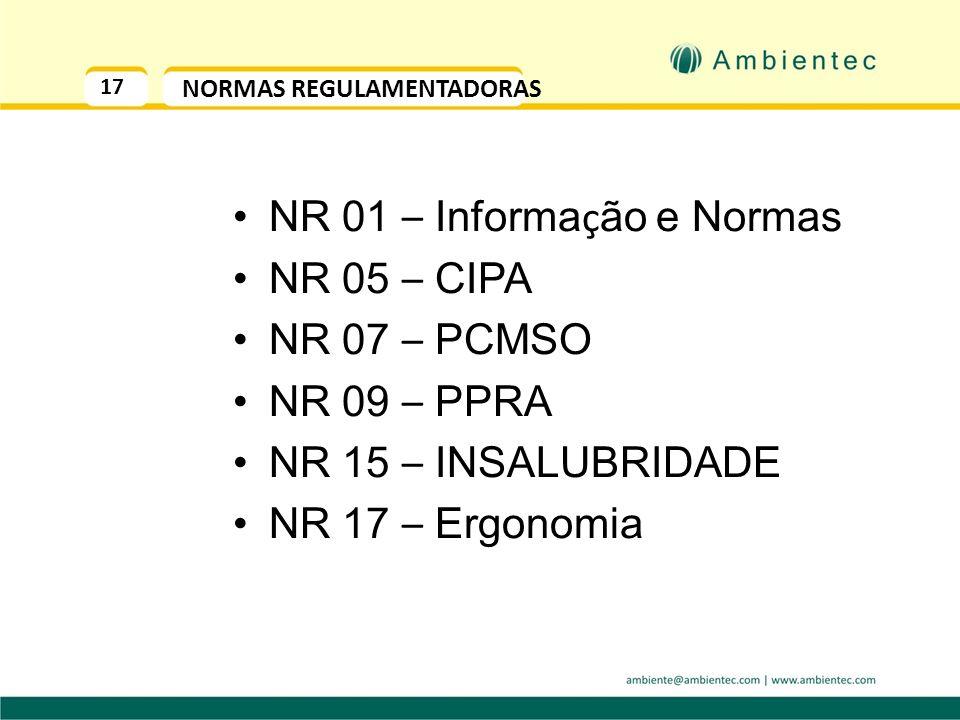 16 NO BRASIL - MTE O Ministério do Trabalho e Emprego estabelece as Normas Regulamentadoras - NRs, como uma forma de especificar como deve ser um ambi
