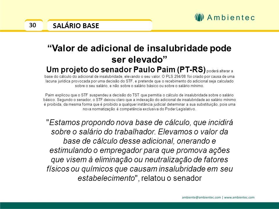 29 ADICIONAL DE INSALUBRIDADE SALÁRIO BASE A Súmula Vinculante nº. 4 do STF – Supremo Tribunal Federal vetou a utilização do Salário Mínimo como base