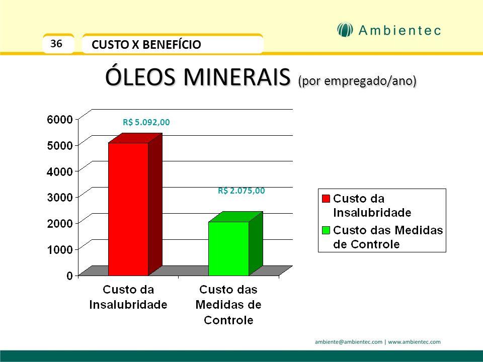 35 CUSTO DA INSALUBRIDADE HIPÓTESE 3: Setor Eletromecânico SB = SM + R$ 1,00 40% Adicional de Grau Máximo (óleo mineral) - 40% Salário Mínimo- R$ 466,