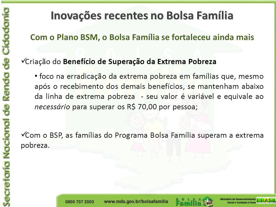 Com o Plano BSM, o Bolsa Família se fortaleceu ainda mais Criação do Benefício de Superação da Extrema Pobreza foco na erradicação da extrema pobreza