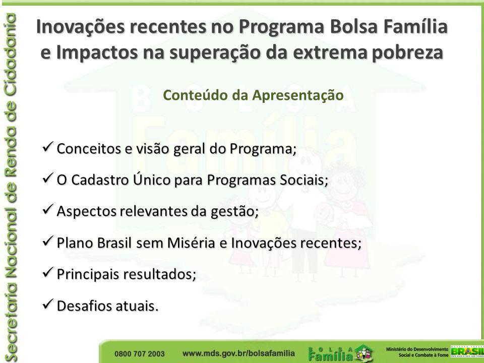 O Programa Bolsa Família Características gerais Atende famílias com até R$ 140,00 de renda per capita familiar (selecionadas pelo Cadastro Único); Benefícios: Básico: famílias extremamente pobres (R$ 70,00); Variável: crianças dos 6 aos 15 anos (R$32,00) Variável Jovem: 16 a 17 anos (R$ 38,00) Gestantes e nutrizes(R$32,00) Benefício para a superação da extrema pobreza (hiato de pobreza, valor médio R$ 85,41) Famílias atendidas: 13.773.316 (maio/2013) Benefício (valor total) médio: R$ 150,00 (maio/2013) Orçamento: R$ 23 bilhões (menos de 5% são custos de operação) Pagamento: mensal, com cartão magnético enviado diretamente às famílias por Correios .