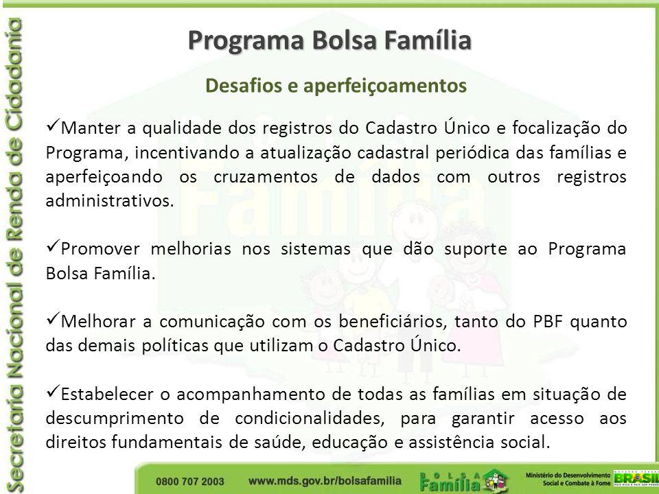 Programa Bolsa Família Desafios e aperfeiçoamentos Manter a qualidade dos registros do Cadastro Único e focalização do Programa, incentivando a atuali