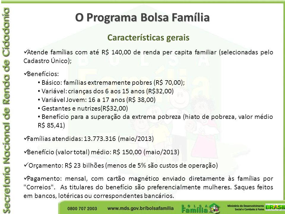 O Programa Bolsa Família Características gerais Atende famílias com até R$ 140,00 de renda per capita familiar (selecionadas pelo Cadastro Único); Ben