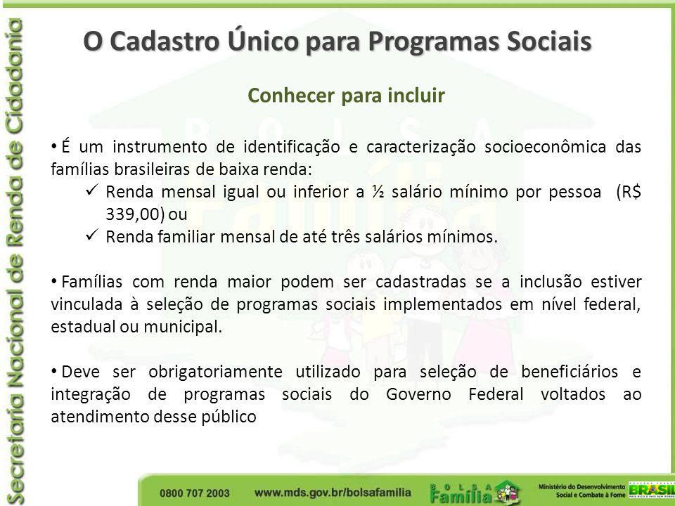 O Cadastro Único para Programas Sociais Conhecer para incluir É um instrumento de identificação e caracterização socioeconômica das famílias brasileir