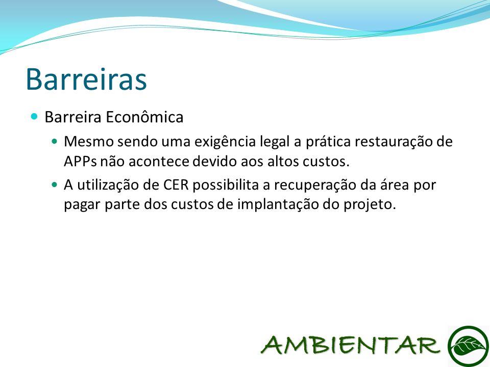 Barreiras Barreira Econômica Mesmo sendo uma exigência legal a prática restauração de APPs não acontece devido aos altos custos. A utilização de CER p