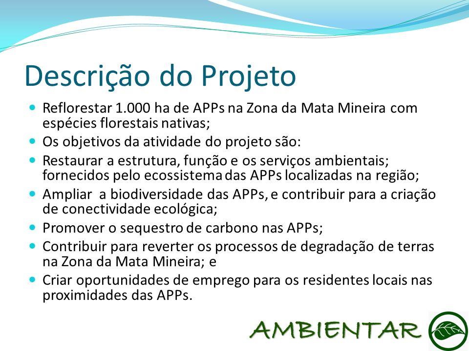 Descrição do Projeto Reflorestar 1.000 ha de APPs na Zona da Mata Mineira com espécies florestais nativas; Os objetivos da atividade do projeto são: R