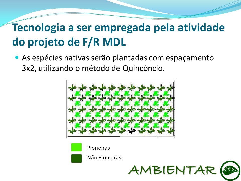 Tecnologia a ser empregada pela atividade do projeto de F/R MDL As espécies nativas serão plantadas com espaçamento 3x2, utilizando o método de Quincô
