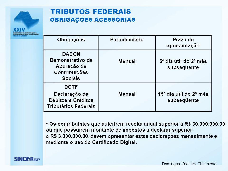 Domingos Orestes Chiomento OBRIGAÇÕES ACESSÓRIAS ObrigaçõesPeriodicidadePrazo de apresentação DACON Demonstrativo de Apuração de Contribuições Sociais