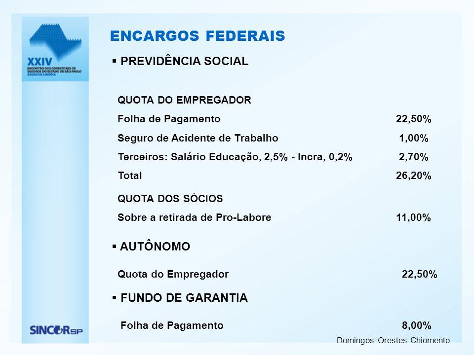 Domingos Orestes Chiomento ENCARGOS FEDERAIS PREVIDÊNCIA SOCIAL QUOTA DO EMPREGADOR Folha de Pagamento22,50% Seguro de Acidente de Trabalho 1,00% Terc