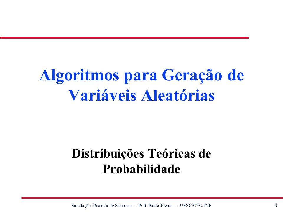1 Simulação Discreta de Sistemas - Prof. Paulo Freitas - UFSC/CTC/INE Algoritmos para Geração de Variáveis Aleatórias Distribuições Teóricas de Probab