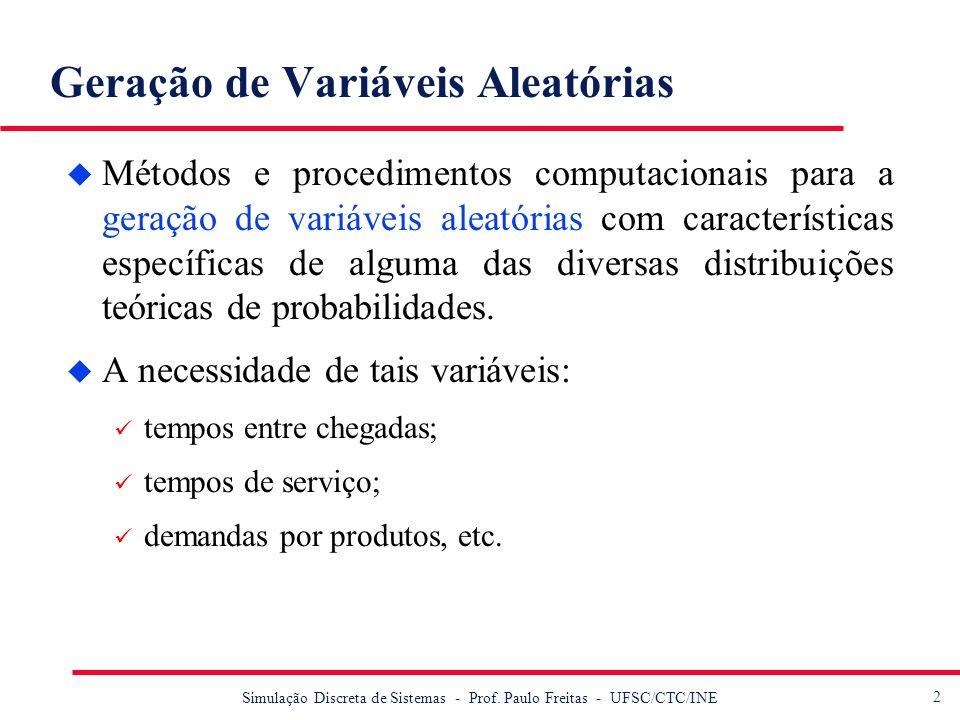 2 Simulação Discreta de Sistemas - Prof. Paulo Freitas - UFSC/CTC/INE Geração de Variáveis Aleatórias u Métodos e procedimentos computacionais para a