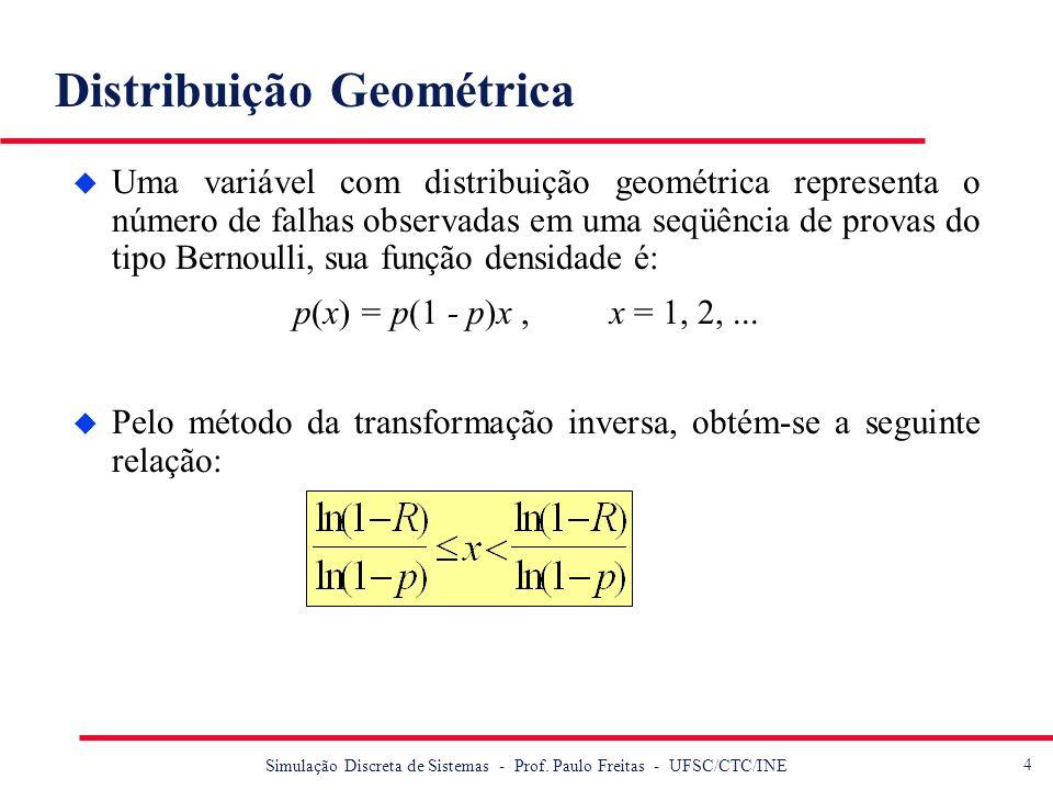 4 Simulação Discreta de Sistemas - Prof. Paulo Freitas - UFSC/CTC/INE Distribuição Geométrica u Uma variável com distribuição geométrica representa o