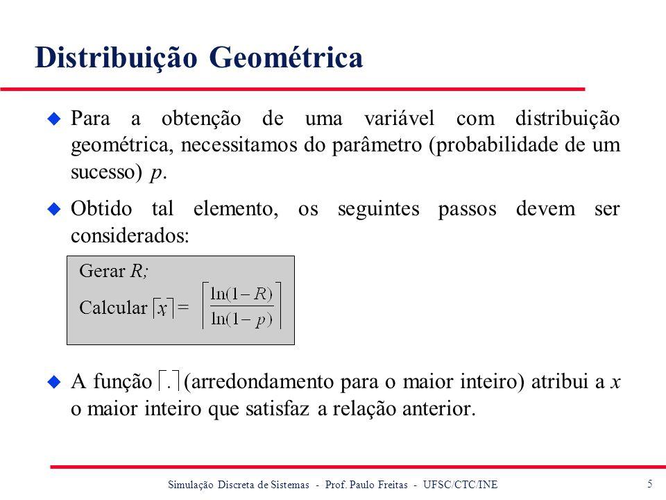 5 Simulação Discreta de Sistemas - Prof. Paulo Freitas - UFSC/CTC/INE Distribuição Geométrica u Para a obtenção de uma variável com distribuição geomé