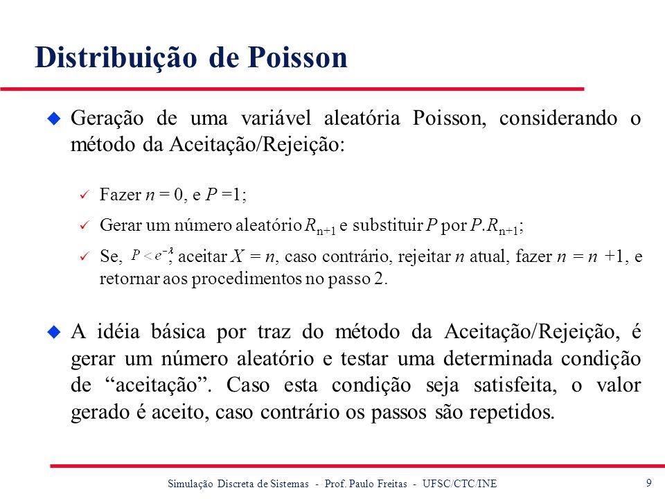 9 Simulação Discreta de Sistemas - Prof. Paulo Freitas - UFSC/CTC/INE Distribuição de Poisson u Geração de uma variável aleatória Poisson, considerand