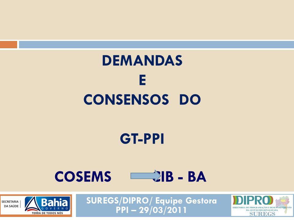 COSEMS CIB - BA SUREGS/DIPRO/ Equipe Gestora PPI – 29/03/2011 DEMANDAS E CONSENSOS DO GT-PPI