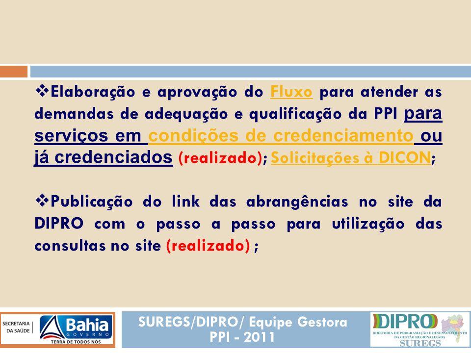 REALIZADAS Elaboração e aprovação do modelo de termo de responsabilidade sanitária pelos executores das abrangências (em andamento); termo de responsabilidade sanitária Criação do Gtzinho (realizado); Aprovação de regimento do GT PPI (realizado - Resolução CIB 364/2010);Resolução CIB 364/2010 SUREGS/DIPRO/ Equipe Gestora PPI - 2011
