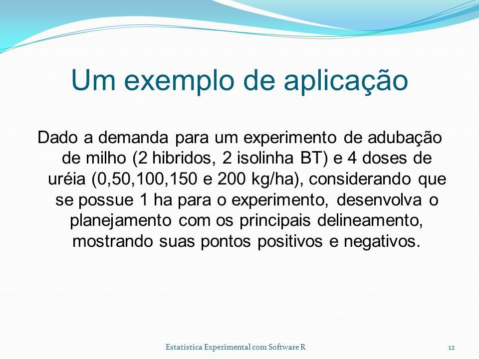 Estatística Experimental com Software R Um exemplo de aplicação Dado a demanda para um experimento de adubação de milho (2 hibridos, 2 isolinha BT) e