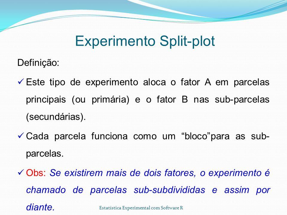 Estatística Experimental com Software R Experimento Split-plot Definição: Este tipo de experimento aloca o fator A em parcelas principais (ou primária