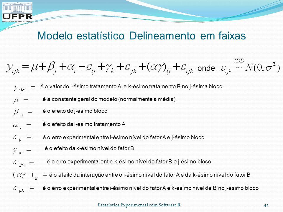 Estatística Experimental com Software R Modelo estatístico Delineamento em faixas 42 é o valor do i-ésimo tratamento A e k-ésimo tratamento B no j-ési
