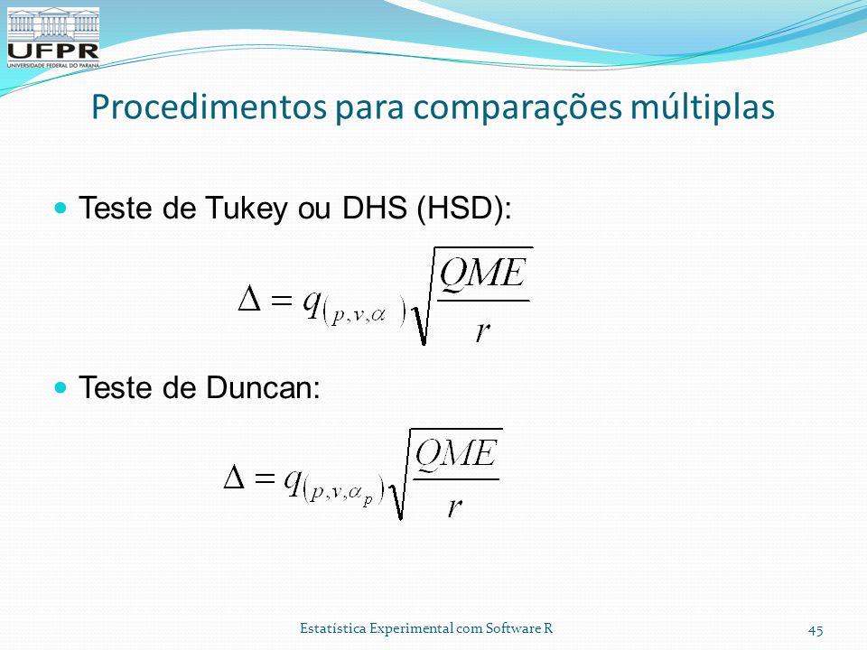 Estatística Experimental com Software R 45 Teste de Tukey ou DHS (HSD): Teste de Duncan: Procedimentos para comparações múltiplas